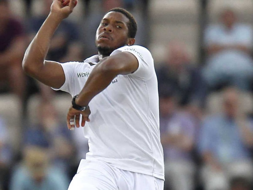 England's Chris Jordan bowls during play on the second day of the third cricket Test match between England and India at The Ageas Bowl cricket ground in Southampton.