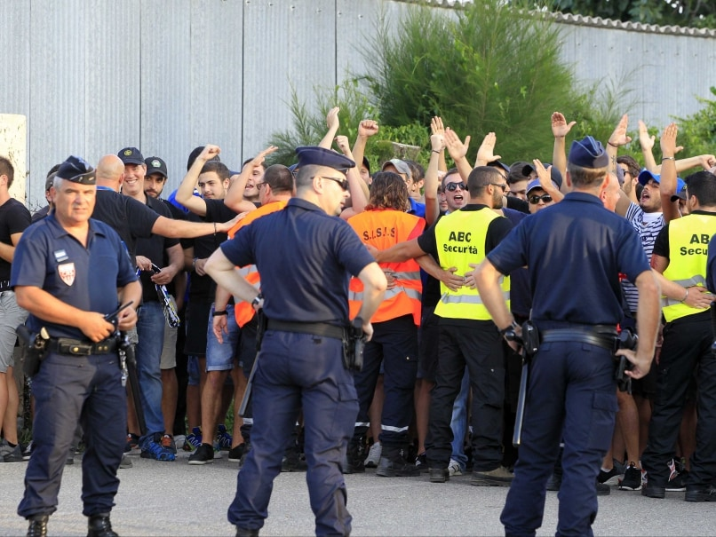 French Policemen and supporters