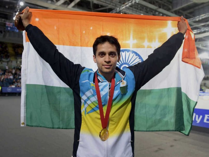Parupalli Kashyap celebrates after winning the gold in mens singles badminton at the Commonwealrh Games 2014.