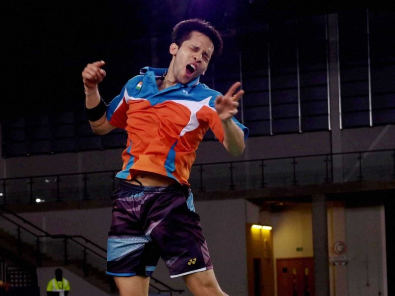 Parupalli Kashyap jumps with joy after winning the gold in mens badminton singles at the Commonwealth Games 2014.