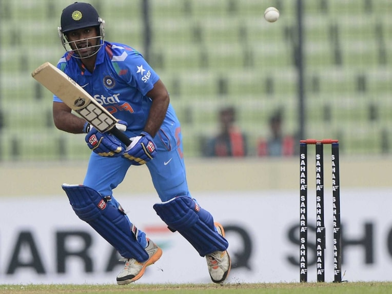 Indian cricketer Ambati Rayudu plays a shot during the second one day international (ODI) cricket match between India and Bangladesh at the Sher-e-Bangla National Cricket Stadium in Dhaka on June 17, 2014.