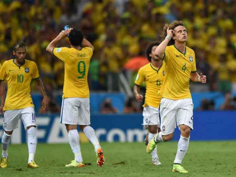 David Luiz celebrates a goal for Brazil in the FIFA World Cup