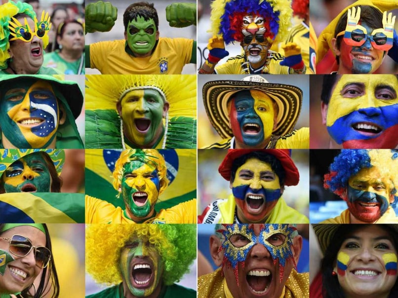 Hosts Brazil face Colombia in the quarterfinal of the FIFA World Cup
