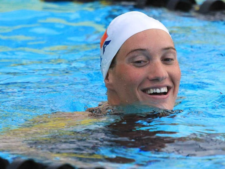 French swimmer Camille Muffat reacts after the womens 400m Freestyle final at the Mare-Nostrum international swimming competition in Canet-en-Roussillon, France, on June 11, 2014.