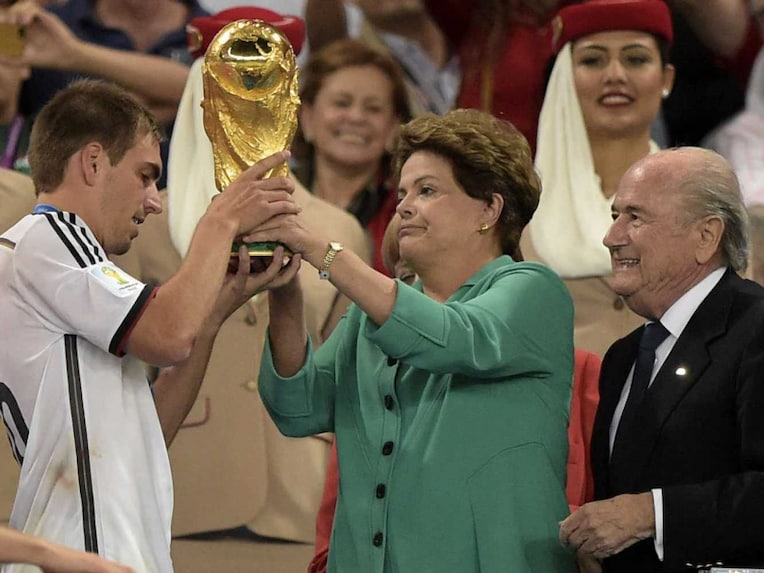 Rousseff and Blatter jointly handed over the trophy to Germany captain Philipp Lahm.