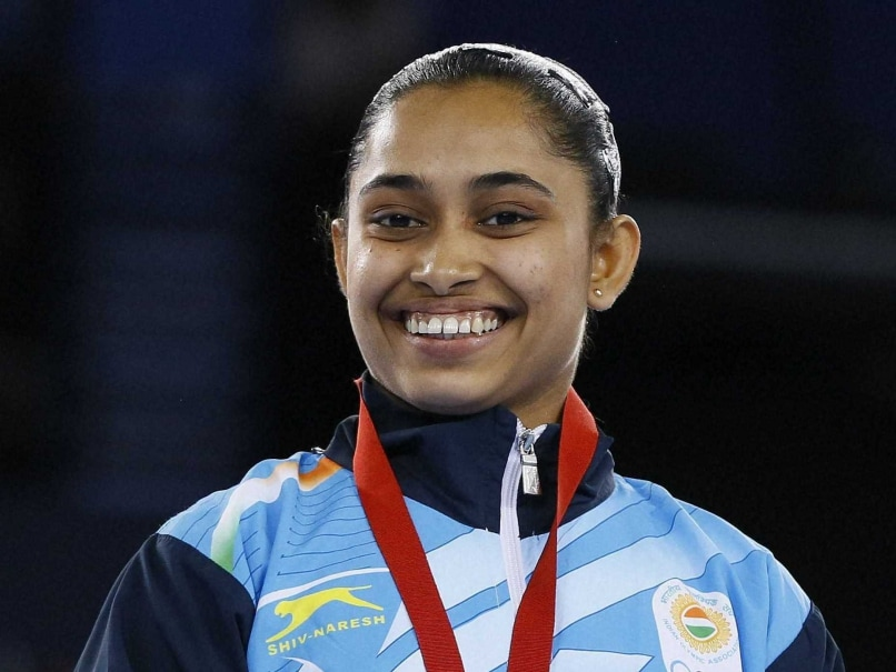 Dipa Karmakar celebrates after winning bronze.