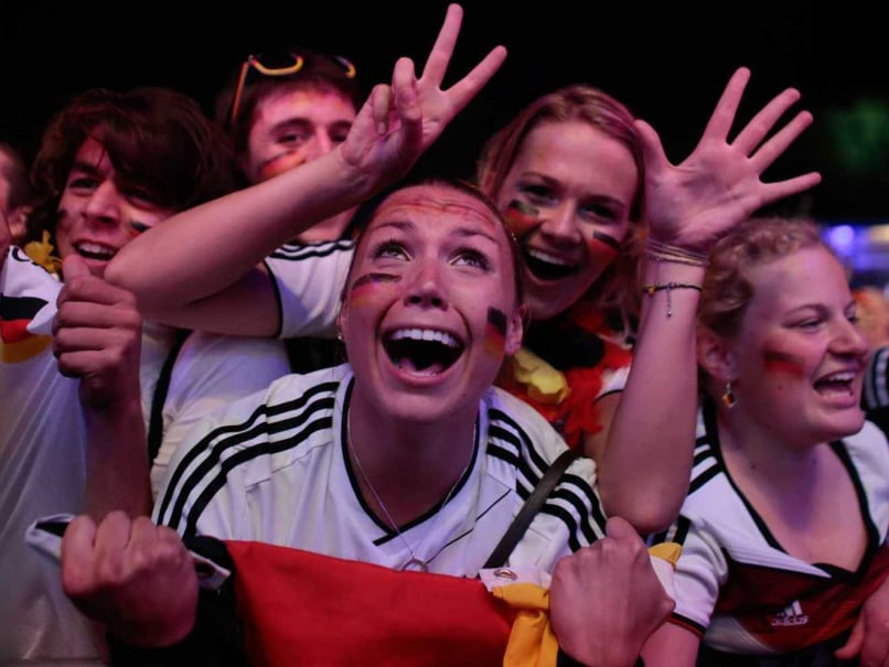 German fans celebrate their team's win against Brazil.