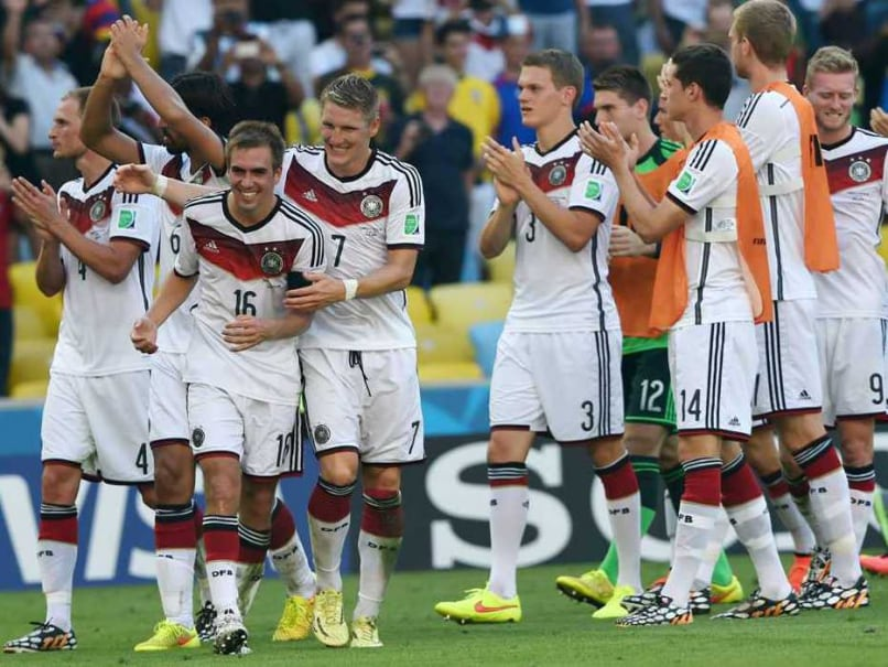 Germany celebrate after beating France in the FIFA World Cup quarters.
