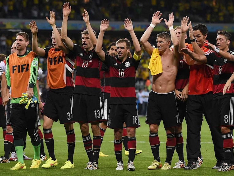 The German football team acknowledges the crowd after winning the FIFA World Cup match vs Brazil.