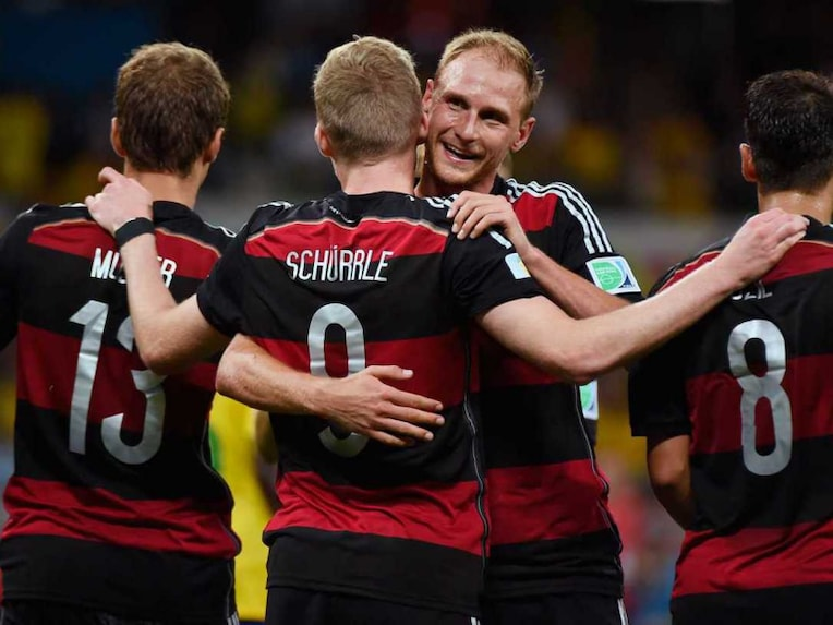 Germany celebrate after entering their record eighth World Cup final