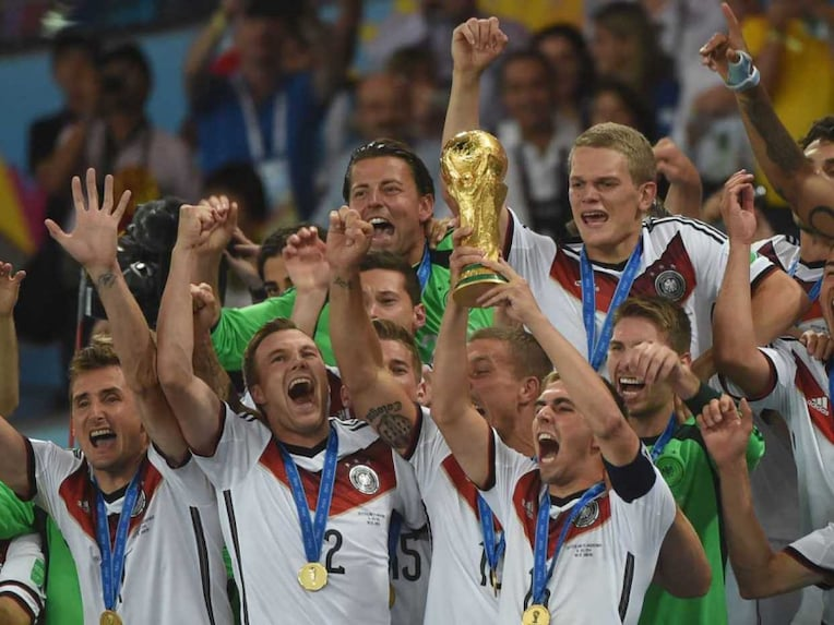 Germany celebrate after winning the World Cup