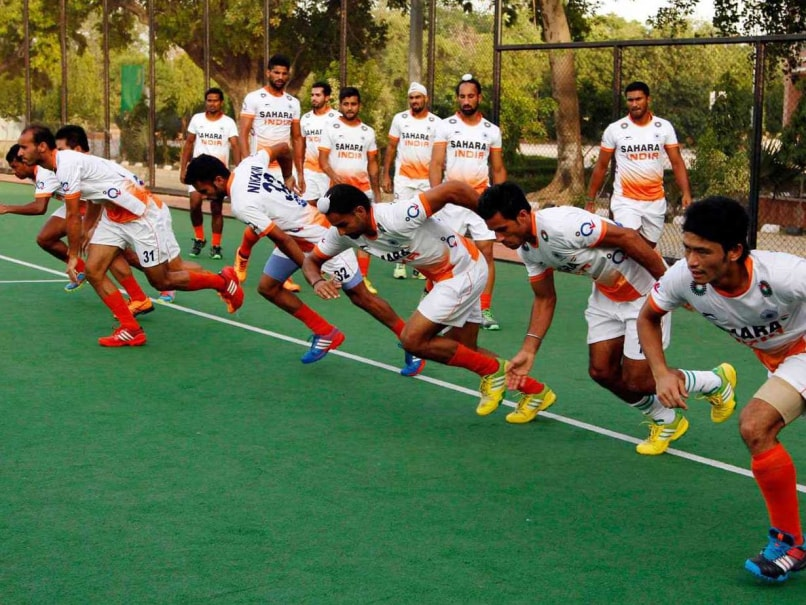 Indian team during a practice session at Major Dhyan Chand Stadium in New Delhi.