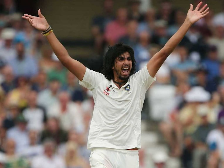 Indias Ishant Sharma celebrates after dismissing Moeen Ali in the first session on Day 5 at Lord's