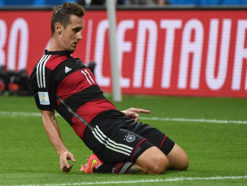 Klose celebrates after scoring his record-breaking World Cup goal
