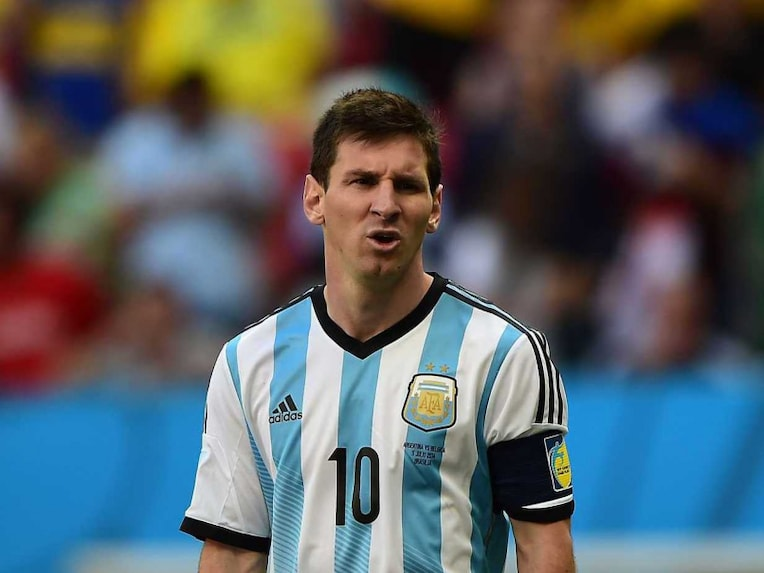 Lionel Messi reacts during Argentinas quarterfinal vs Belgium in the FIFA World Cup 2014.