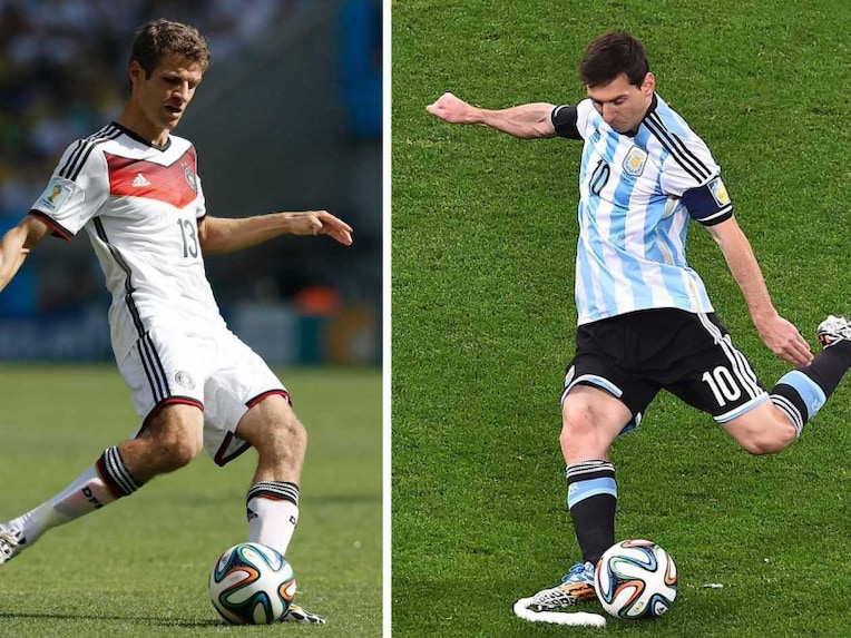 A combination of file photos shows Germany's forward Thomas Mueller (L) kicking the ball during the quarter-final football match between France and Germany at the Maracana Stadium in Rio de Janeiro during the 2014 FIFA World Cup on July 4, 2014 and Argentina's forward Lionel Messi (R) kicking the ball during the semi-final football match between Netherlands and Argentina of the FIFA World Cup at The Corinthians Arena in Sao Paulo on July 9, 2014. Germany will face Argentina in the final match of the 2014 FIFA World Cup in Rio de Janeiro on July 13, 2014.