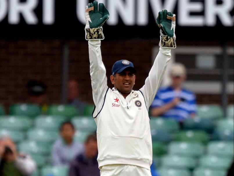 MS Dhoni appeals during the tour match ahead of Test series in England