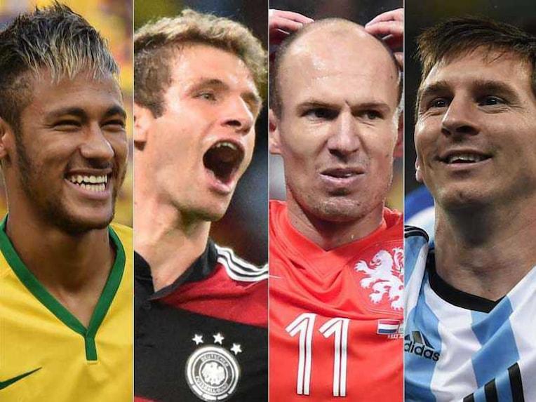 A split image of Neymar, Muller, Robben and Messi