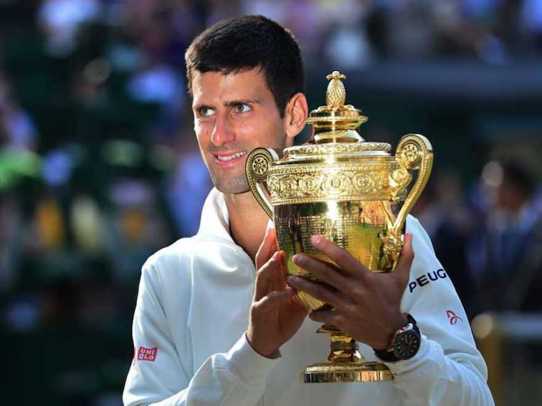 Novak Djokovic With Wimbledon Crown