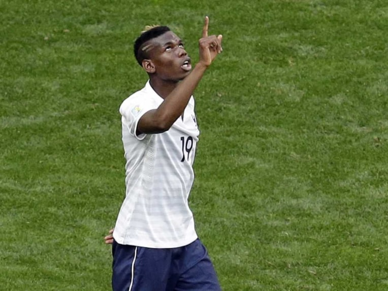 French defender Paul Pogba celebrates after scoring in FIFA World Cup