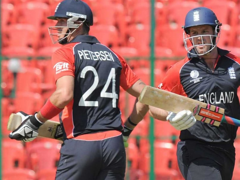 Kevin Pietersen and Andrew Strauss in action during the 2011 ICC World Cup.