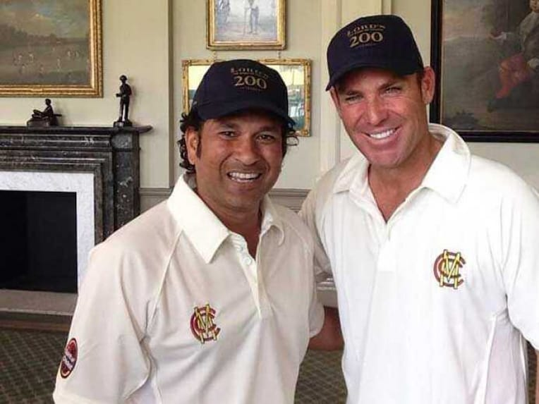 Sachin Tendulkar and Shane Warne pose together ahead of their clash at Lords. (Image credit: Lords Ground@HomeOfCricket)