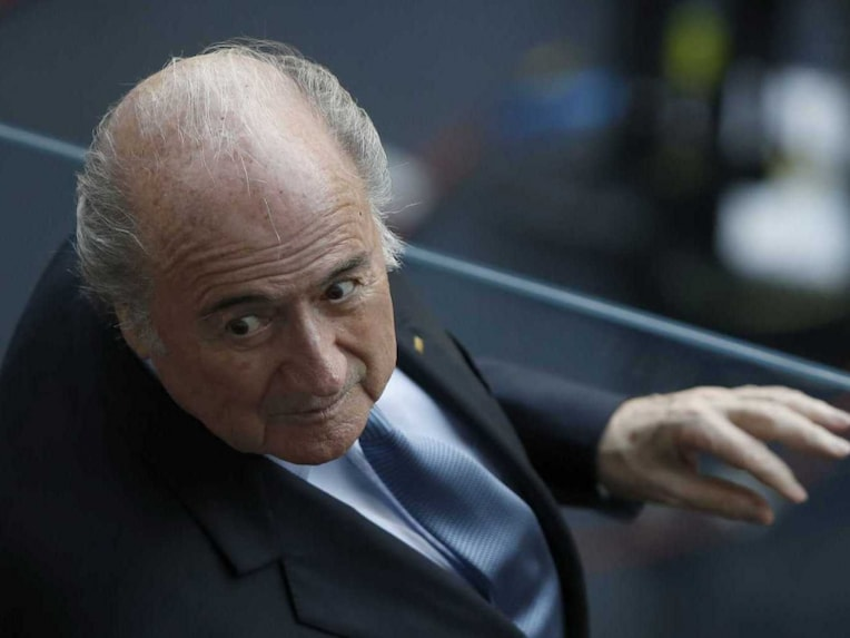 FIFA president Sepp Blatter attends the World Cup Round of 16 match between Costa Rica and Greece.