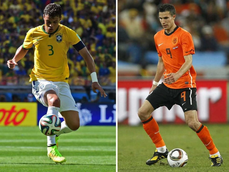 A combination of file pictures shows Netherlands striker and captain Robin van Persie (R) controlling the ball in Durban on June 28, 2010 and Brazils defender and captain Thiago Silva controlling the ball in Belo Horizonte on June 28, 2014. Brazil will try to rescue some of their battered pride after their humiliating World Cup semi-final defeat to Germany as they face the Netherlands in the third-place play-off in Brasilia on July 12, 2014.