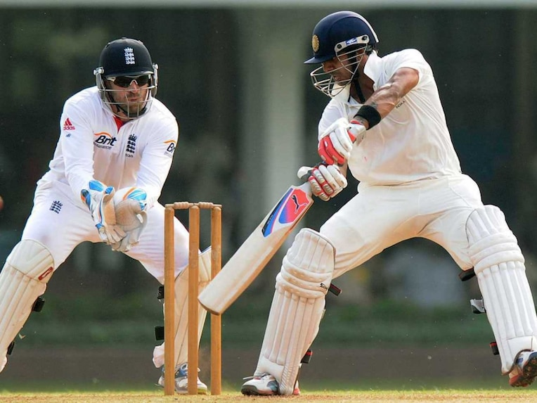 Manoj Tiwary of India A plays a stroke during the first day of a three day practice match between India A and England at The Cricket Club of India (CCI) ground in Mumbai on October 30, 2012.