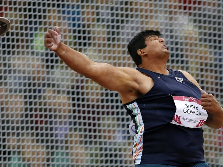 Vikas Shive Gowda in action during CWG 2014.