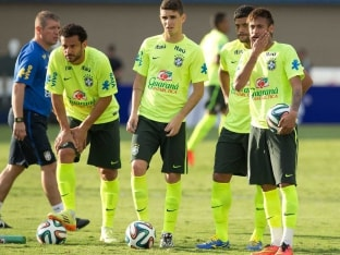 Brazil football team in practice ahead of the FIFA World Cup