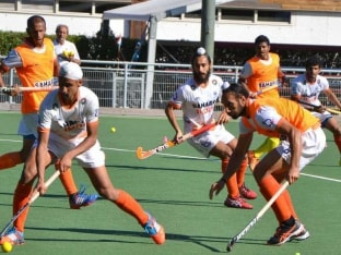 Indian hockey team in practice during Hockey World Cup