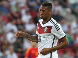 Germany defender Jerome Boateng plays the ball during a friendly match