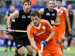 Netherlands hockey team in action against New Zealand during Hockey World Cup