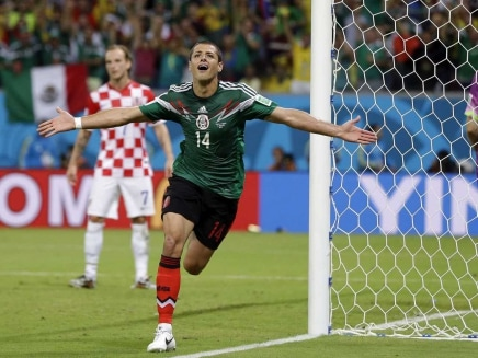 Javier Hernandez celebrates after scoring a goal during FIFA World Cup
