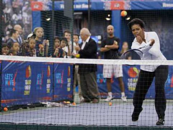 First class tennis from US First Lady