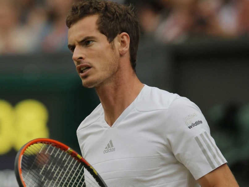 Andy Murray celebrates after winning his 4th round match at the Wimbledon