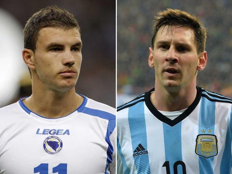 Edin Dzeko and Lionel Messi