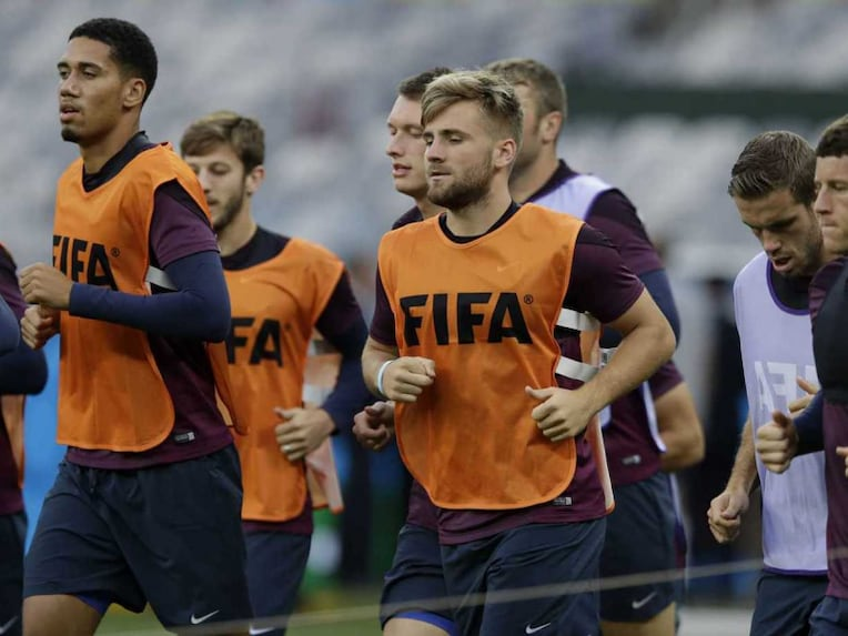 England team in practice ahead of their last group stage game vs Costa Rica in the FIFA World Cup