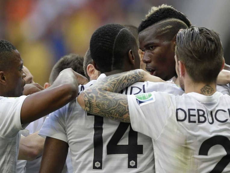 France celebrate after beating Nigeria in the round of 16 in FIFA World Cup