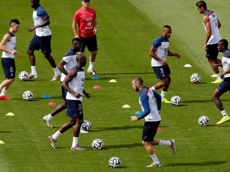 The French team in practice during the FIFA World Cup 2014