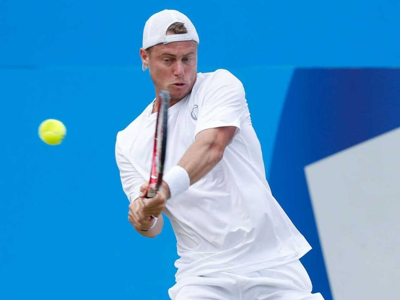 Lleyton Hewitt in action on grass court