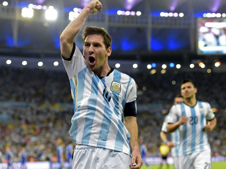 Messi celebrates after scoring a goal in the FIFA World Cup.