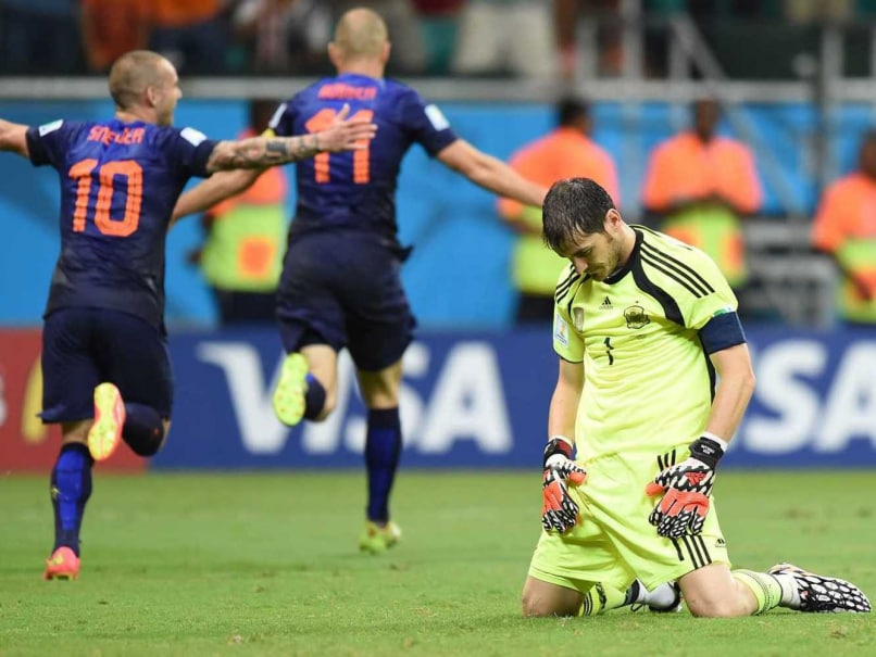 Netherlands celebrate their 5-1 victory over Spain in the FIFA World Cup