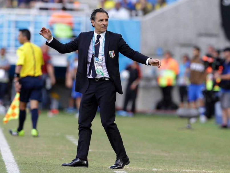 Italys head coach Cesare Prandelli gestures during the Group D FIFA World Cup game between Italy and Uruguay. Uruguay edged 10-man Italy 1-0 to reach the second round.