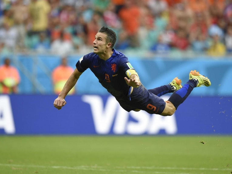Robin van Persie scores a stunning goal against Spain in FIFA World Cup 2014