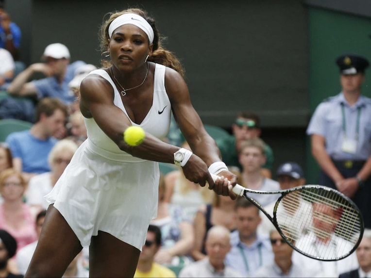 Serena Williams in action during Wimbledon 2014