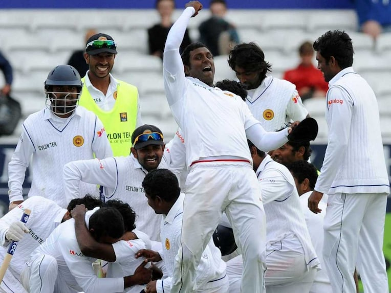 Sri Lanka celebrate after beating England to clinch Test series