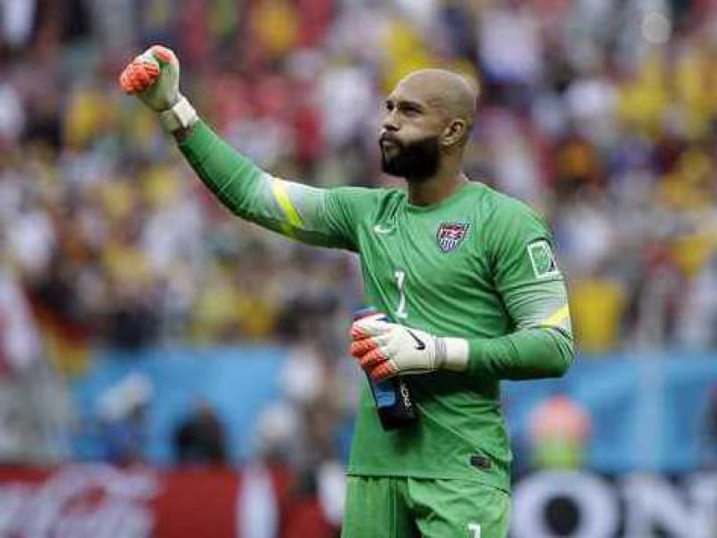 U.S. goalkeeper Tim Howard gestures after a game in the FIFA World Cup