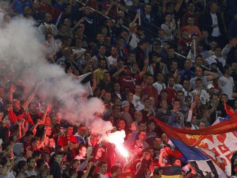 Serbia fans drone